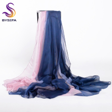 [BYSIFA] Blue Pink Patchwork Women Long Scarves Summer Gradient Beach Cover-ups Shawl Bufanda Ladies Winter Silk Scarf 190*160cm