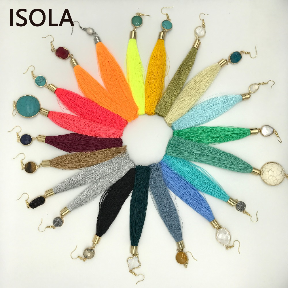 ISOLA Summer Color Customized Unique Nature Stone Fluorescent Bohemia Tassel Earring Statement Handmade DIY Boho Long Earrings
