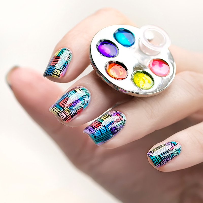Nail Art With White Acrylic Paint: 1pc Mini Manicure Palette Nail Art Finger Ring Palette