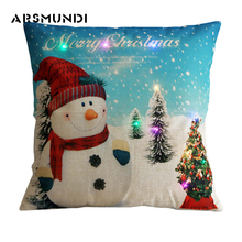 New Merry Christmas simple LED  Cushion Cover cartoon flax snowman Santa Claus Home Decorative Pillowcases Gift 45Cm*45Cm
