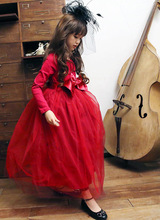 Free shipping Fashion 2015 Baby Girls Clothing Cocktail dresses Cotton long sleeve Mesh bow Paty dresses