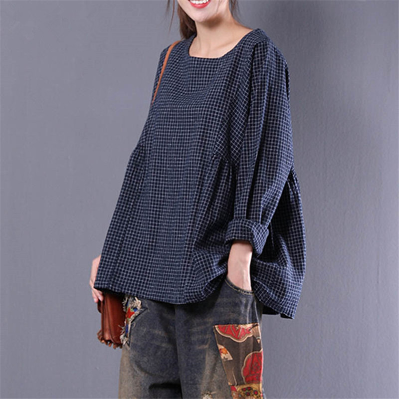 Black and White Plaid Casual Round Neck Long sleeves Colorblock Tee Autumn winter Women Elegant T-shirt Top Plus Size S-5XL