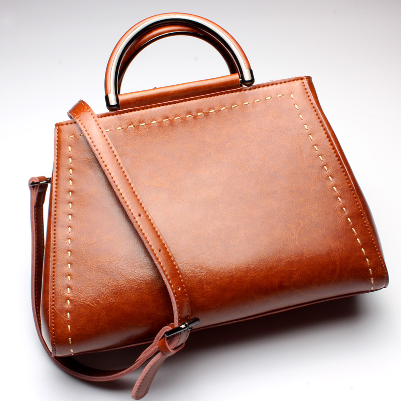 ФОТО New American elegant Style Genuine Leather Women Shoulder Bag Brand Designer Cowhide  leather handbags Skin Crossbody bag
