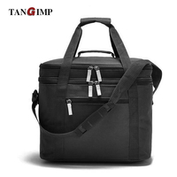 TANGIMP 18L Thermal Double Layers Lunchbox Insulated Lunch Bag Handbag Oxford Solid Food Picnic Cooler Shoulder