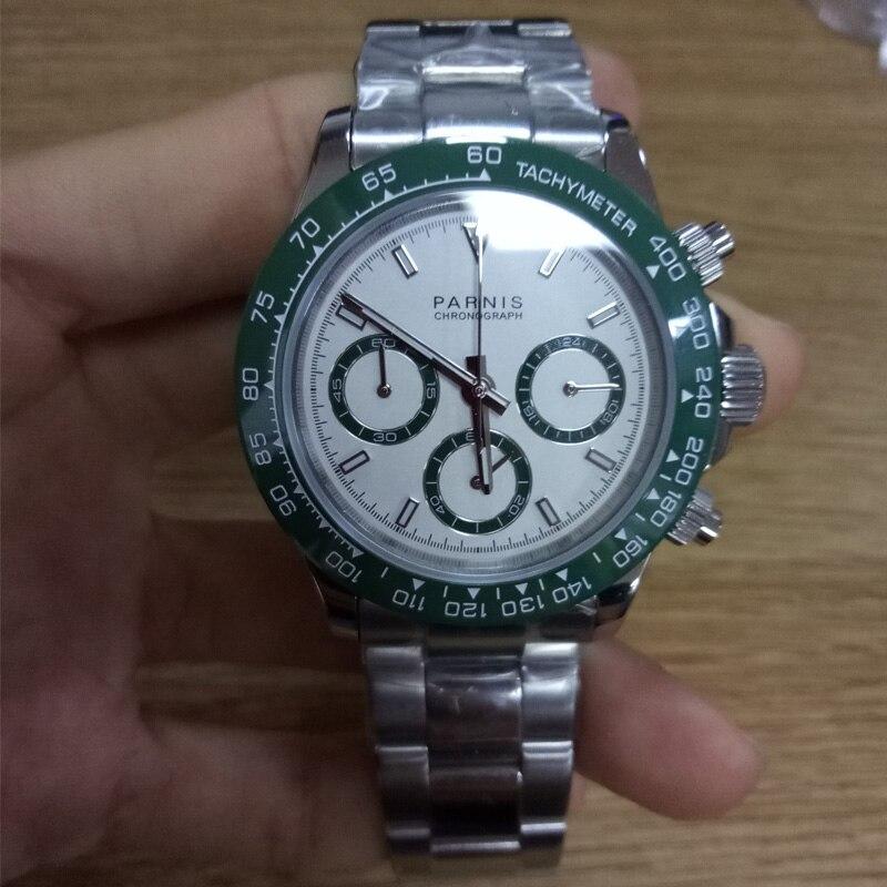 Nouveau arrivé 2019 Parnis 39mm Quartz hommes montres chronographe vert lunette cadran blanc saphir cristal lumineux hommes montre-bracelet
