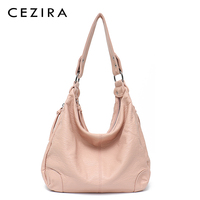 CEZIRA New Arrivals 2018 Women Handbag Washed Vegan Leather Shoulder Messenger Bag Casual Pockets Crossbody Bag Bolsa Feminina