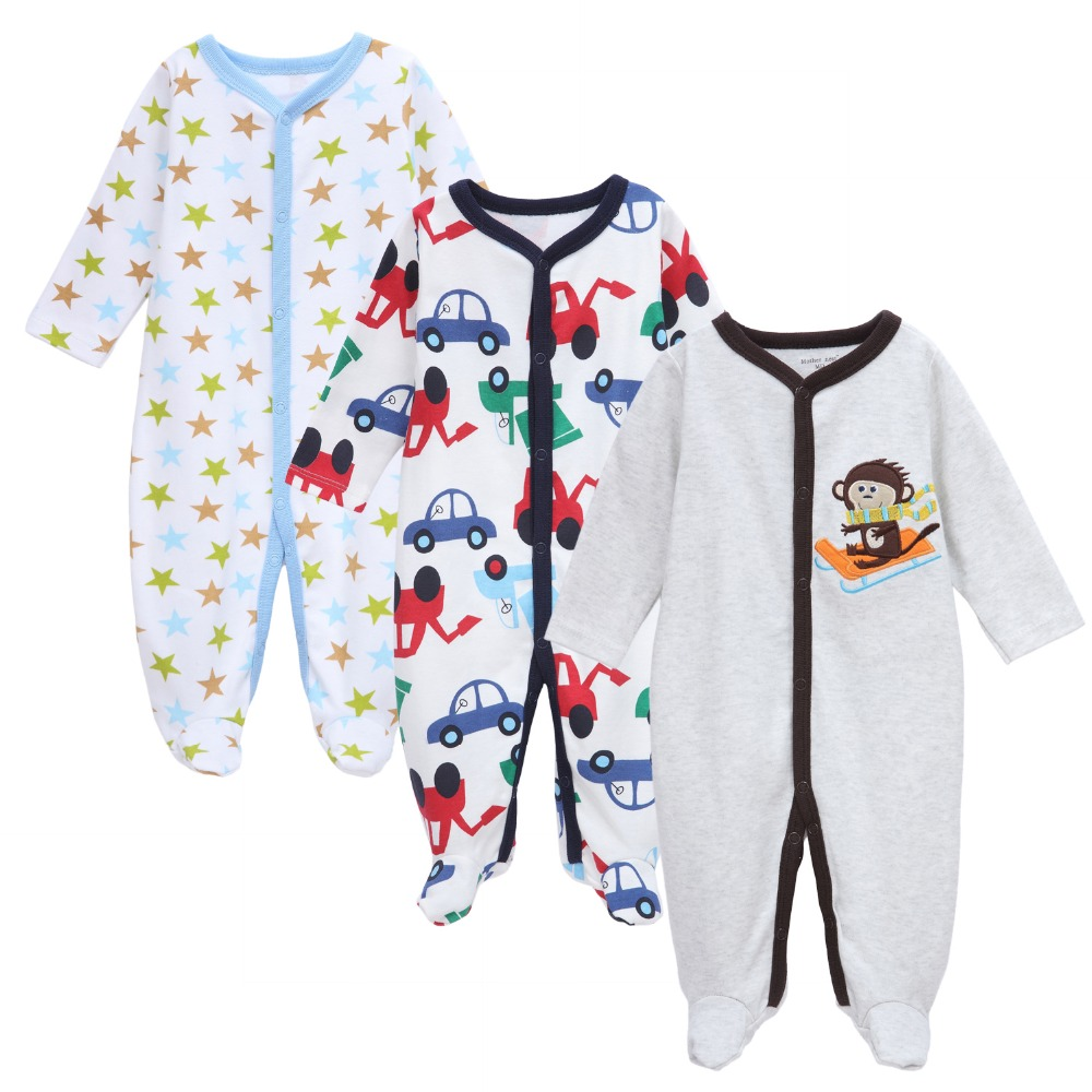 3PCS/Lot Cartoon Style Baby Boys Girls Rompers Newborn Long Sleeve Cotton Baby Clothes Spring Autumn Kids Jumpsuit for 0-12M Kid autumn newborn baby clothing long sleeve knitting baby clothes cotton line baby rompers girls baby boys clothes