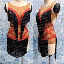 Rumba Jive Chacha Ballroom Latin Dance Dress Girls Women,Competition Latin dance dress,skirt Latin dance Sunflower dance dress