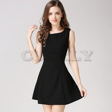 все цены на SHEIN Black Fit And Flare Solid Dress Elegant Straps Sleeveless Plain A Line Dresses Women Summer Autumn Zipper Short Dress онлайн