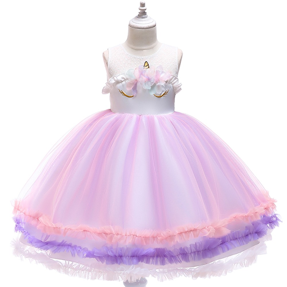 99079850771ff Fashion New Baby Kid Girls Dress Unicorn Flower Tutu Tulle Princess Dress  for Girls Birthday Wedding Party Kids Dresses for Girl