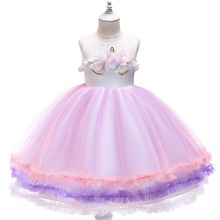 цена на Fashion New Baby Kid Girls Dress Unicorn Flower Tutu Tulle Princess Dress for Girls Birthday Wedding Party Kids Dresses for Girl
