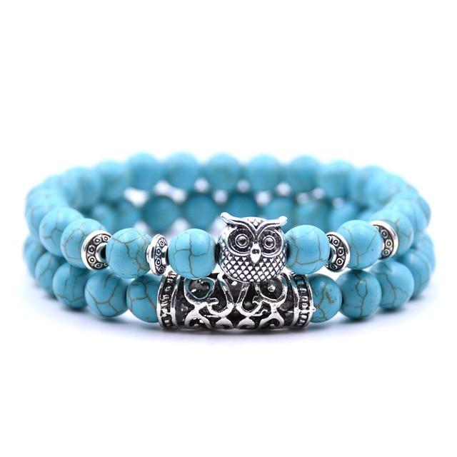 Natural stone animal owl  bracelets For Women Men Cool hot Selling 4