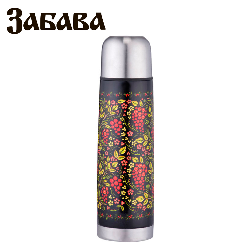 ZABAVA RK-0500M Thermose 500ml Vacuum Flask Thermose Travel Sports Climb Thermal Pot Insulated Vacuum Bottle Stainless Steel outdoor sports water bottle cup with strap orange 500ml