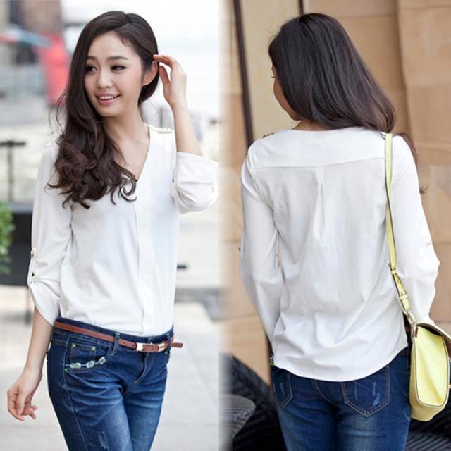 2014 Spring And Summer Korean Fashion Long Sleeve Shirt Women V ...