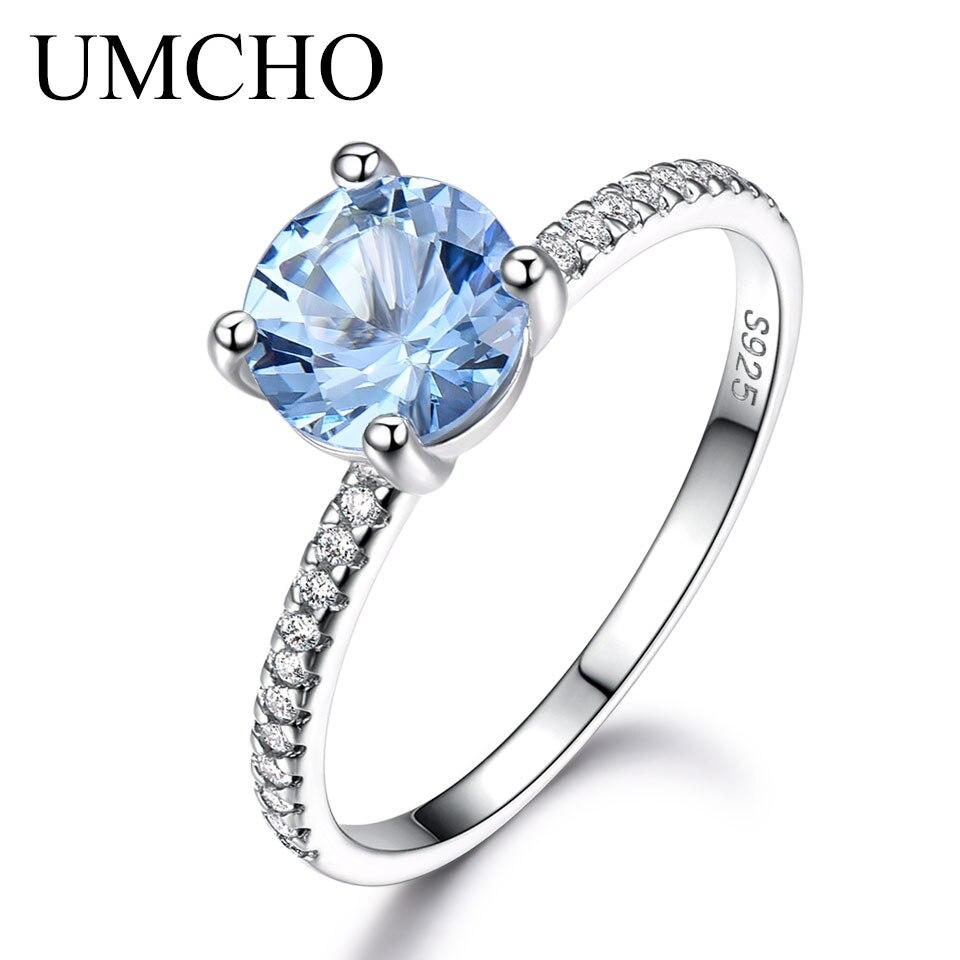 UMCHO Real 100% 925 Sterling Silver Rings For Women Sky Blue Topaz Birthstone Aquamarine Gemstone Wedding Band Fine Jewelry