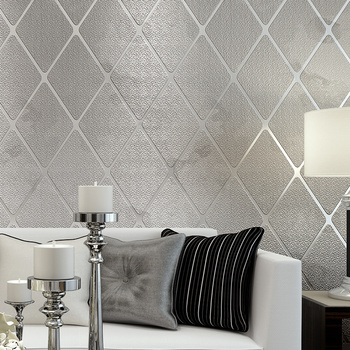 Modern 3D Stereoscopic Living Room TV Background Wall Papers Home Decor Non-woven Geometric Lattice Striped Wallpaper Bedroom Wallpapers