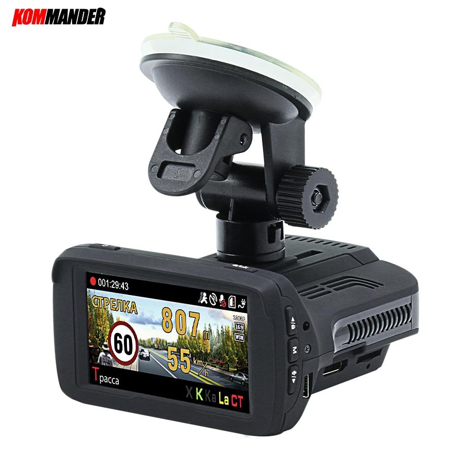 цена на Kommander Ambarella A7LA50 Car Camera Car Dvr Radar Detector built-in GPS base of speedcam cameras 3 in 1 Dashcam for Russian