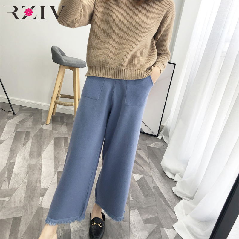 Women's blue Knit Tassel 2018 Autumn Solid Leg Casual Trousers gray Loose Color Black Pants Wide Decorative Rziv wfZEAqWv