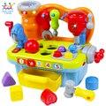Aprendizaje musical pretend play herramienta juguete banco de trabajo con luz/música/block/herramientas, divertidos Efectos de Sonido y Luz, pretend play toy