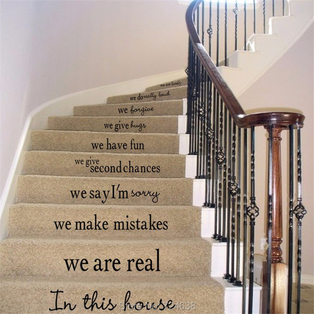 Great Vinyl Stair Decals In This House We Do Quote Decals For Staircase Riser  Decor