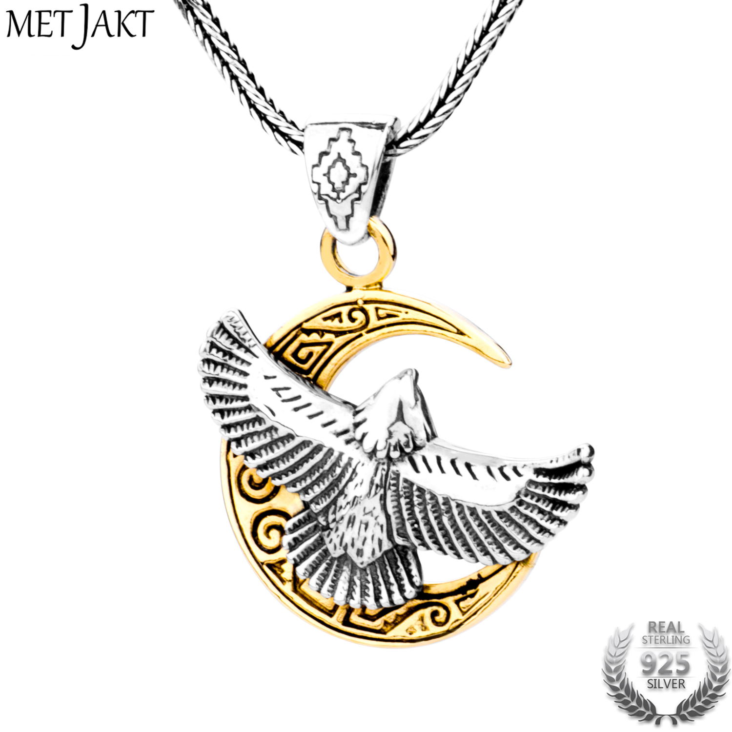MetJakt Punk Flying Eagle Golden Moon Pendant Necklace Solid 925 Sterling Silver and Snake Chain Men's Personalized Jewelry yldz001 fashionable moon shaped rhinestone inlaid pendant necklace golden transparent