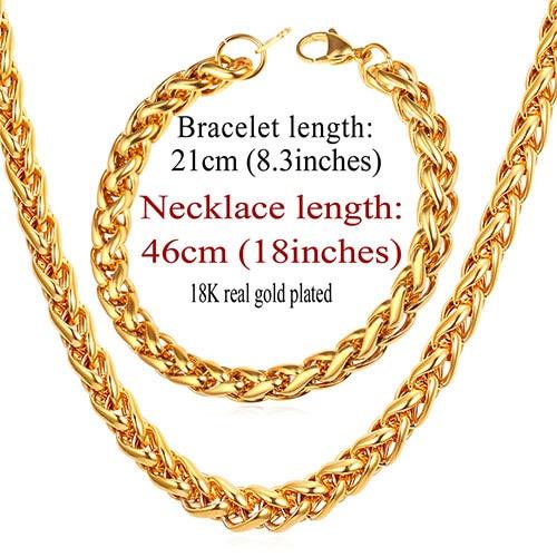 9mm Necklace Bracelet Set...