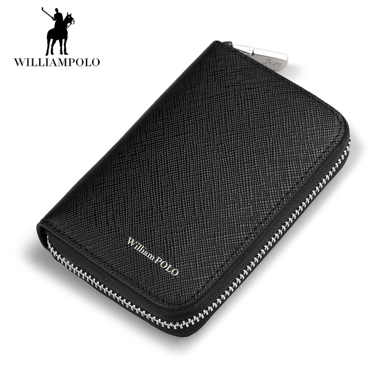 Genuine Cow Leather Wallet Organ Card Packs Zipper Wallet for Men Real Leather ID Card Organizer Coins Purse Men Luxury Wallets