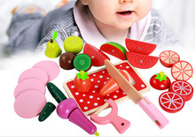 New wooden blocks  toy Kichen Cut Fruit game baby simulation education gift Free shipping