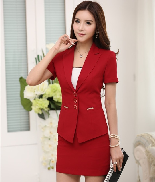 Novelty Red Formal OL Styles Professional Business Women Suits With Jackets And Skirt Ladies Office Skirt Suits Outfits