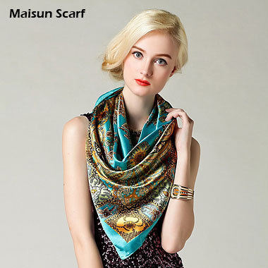 90 x 90cm 100% Polyester Imitation Satin Silk Newest Brand Design Fashion Scarf