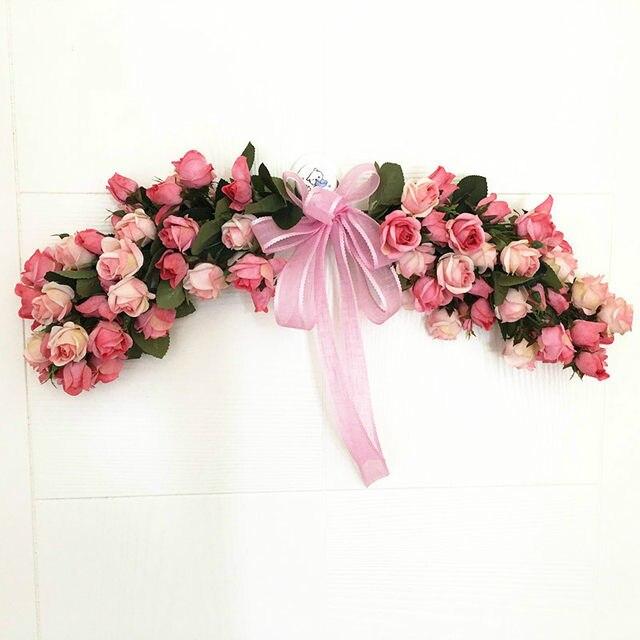 Artificial Garland Flowers Door Lintel Flower Wedding Door Trim Hanging  Home Decoration Ornaments Mirror Wreath Party Supplies