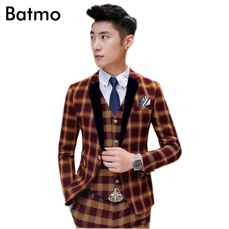 2017 new arrival high quality skinny plaid navy blue suits men casual suits men terno wedding