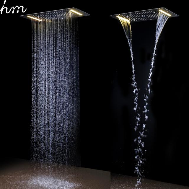 Moderní sprchový systém s automatickým termostatem pro sprchování ve vodopádu, pod deštěm, ve vodním sloupci a s ruční hlavicí