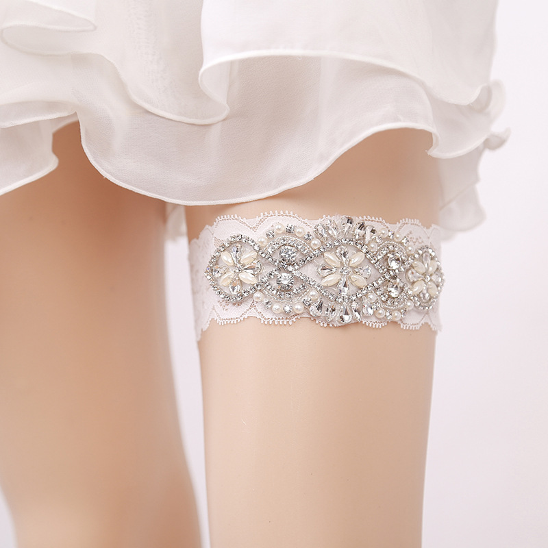 Underwear & Sleepwears Garter White Embroidery Flower Beading Rhinestone Female Wedding Garters For Bride Rubber Lace Band Bridal Leg Garters Wg009