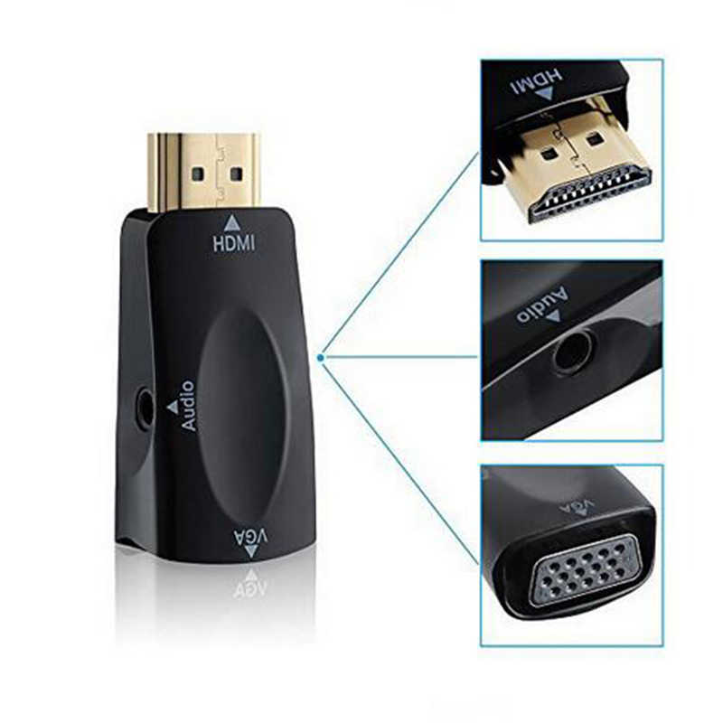 For HDMI To VGA Adapter Converter Cable With Audio Cable Support HD 1080P For PC Laptop With Retail Package