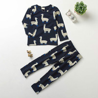 2017 Autumn Winter Baby Boy Girl Clothing Set Tiny Cotton Alpaca Printing Sweatshirts Pants Suit Kids