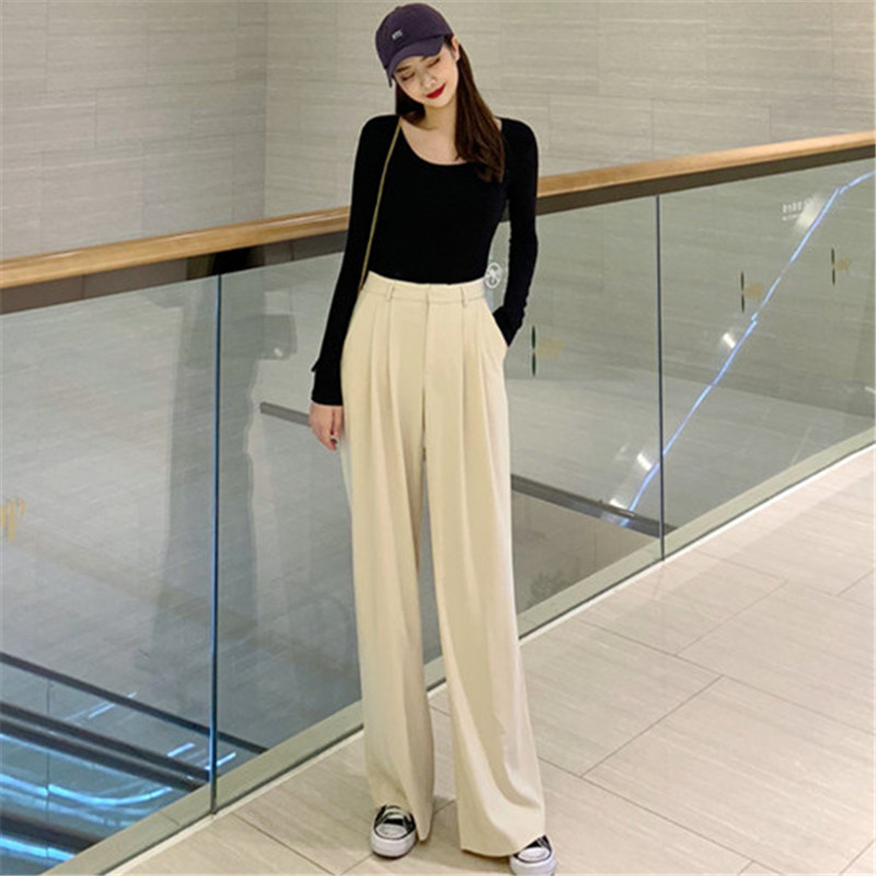 Women Fashion   Wide     Leg     Pants   2019 High Waist Office Lady Trousers Casual Female suit   pants