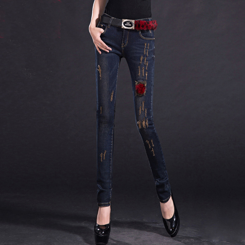 New Arrival Pleated Bleached Denim Pants Fashion Skinny Cuff Pencil Pants Light Washes Plus Size Women Jeans Hi-Q TrousersMK0056 inc international concepts plus size new charcoal pull on skinny pants 14wp $59