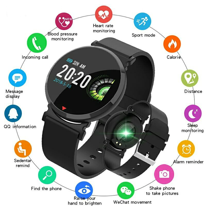 E28 Bluetooth Smart Watch  IP67 Waterproof Heart Rate Monitor Blood Pressure Men Women Smartwatch For IOS Android