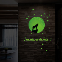Fundecor Wolf Luminous Stickers Home Decor Living Room Bedroom Kitchen Wallpaper Wall Decals Mural Poster