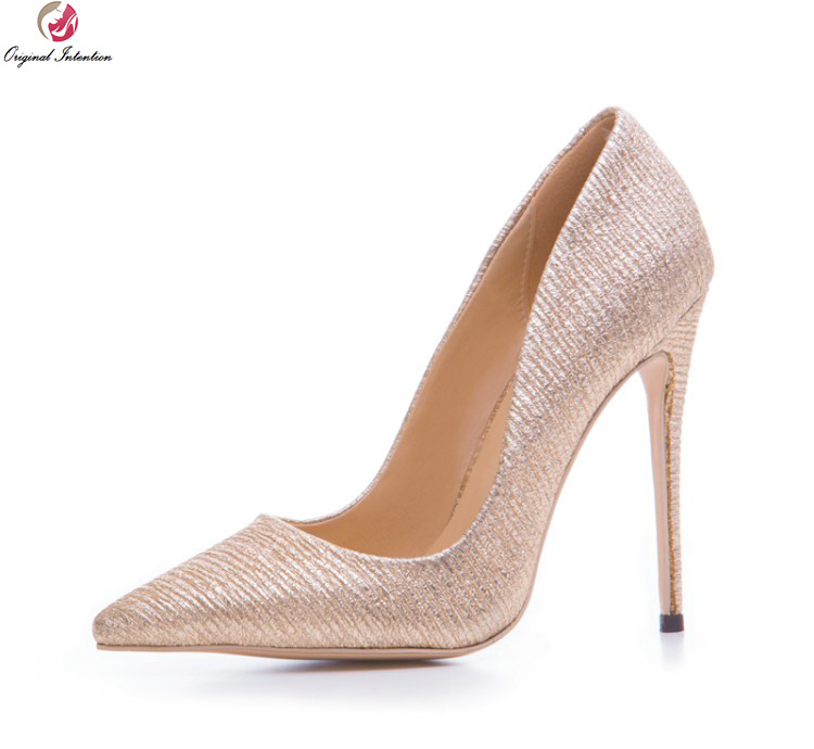 Original Intention New Stylish Women Pumps Elegant Pointed Toe Thin High Heels Pumps Light Gold Shoes Woman Plus US Size 3-10.5 bowknot pointed toe women pumps flock leather woman thin high heels wedding shoes 2017 new fashion shoes plus size 41 42