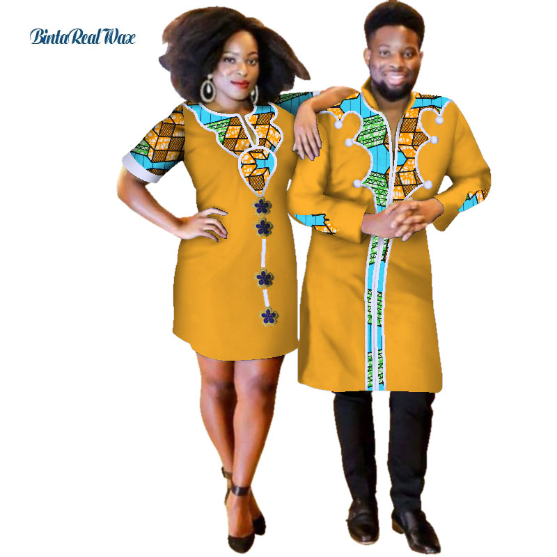 Sweet Lover Couples Clothes African Print Dresses for Women Bazin Mens Patchwork Long Shirts Robes African