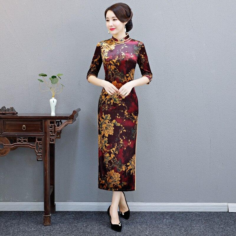 Classique Style chinois femme Qipao femmes élégant fleur longue mince Cheongsam Vestidos automne velours robe grande taille 3XL 4XL