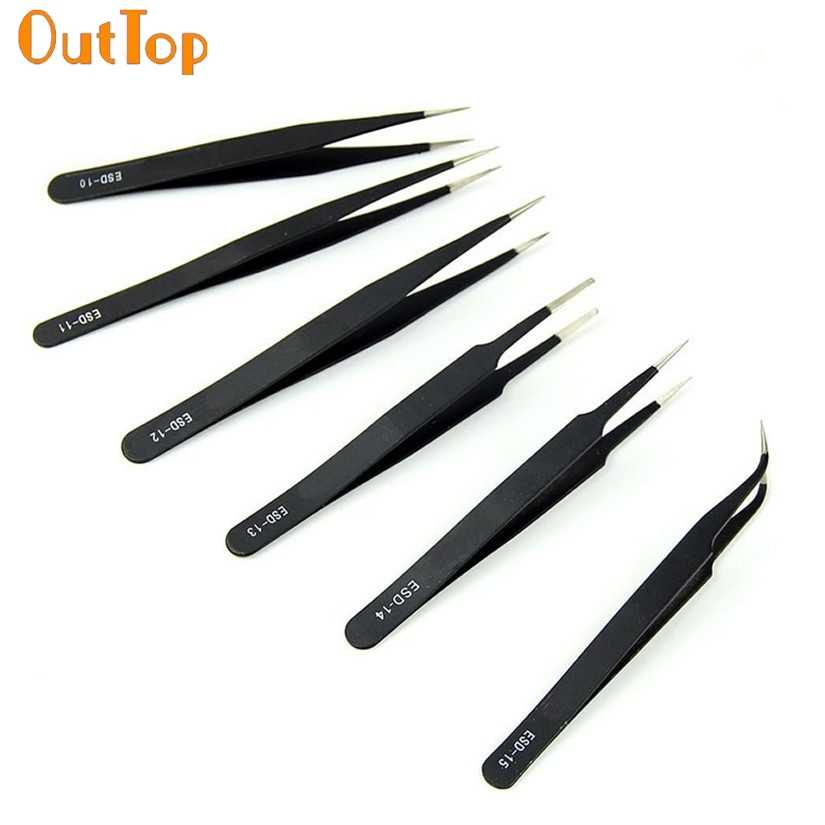 OutTop Tweezer Set 6pcs Precision Anti-static Tweezers Stainless watchmaker Makeup Tools  Excellent Quality 45