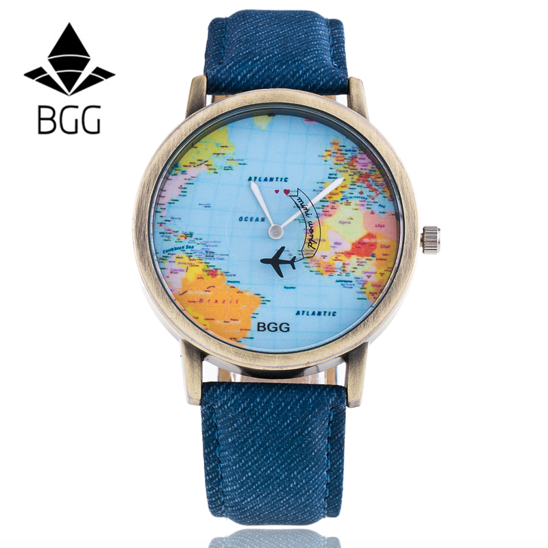 Bronz Dial BGG Brand Watches Fabric Luxury Word Map The Plane Second Pointer Faux Jeans Strap Fashion Men Women Quartz Watch Hot