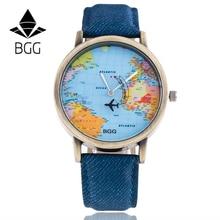 Bronz Dial BGG Brand Watches Fabric Luxury Word Map The Plane Second Pointer Faux Jeans Strap Fashion Men Women Quartz Watch Hot