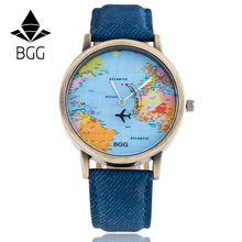 Bronz Dial BGG Brand Watches Fabric Luxury Word Map The Plane Second Pointer Fau