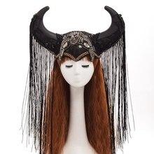 Хэллоуин Косплей Черный панк женщин рога кистями шляпа головные уборы