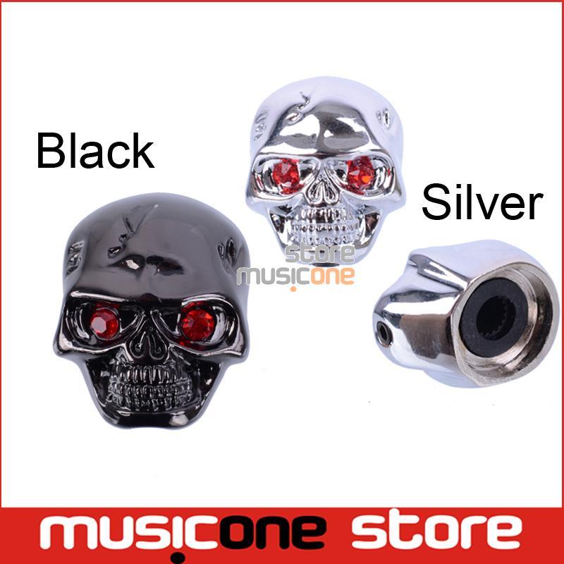 buy black and chrome skull head electric guitar volume tone tuning knob bass. Black Bedroom Furniture Sets. Home Design Ideas