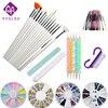 Moglad 10 Items Lot Nail Art Tool Set Professional Nail Brushes Painting Tool DIY Nail Rhinestone
